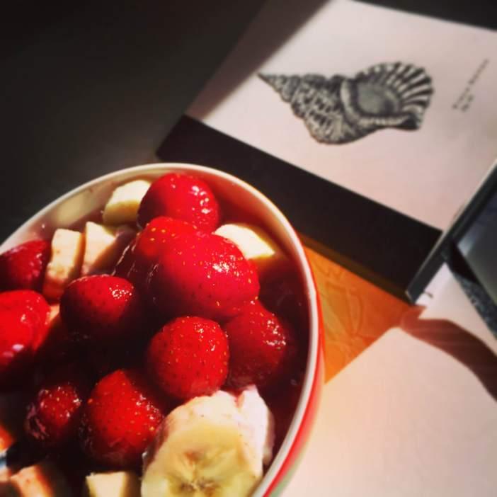 Välipala marjoista, hedelmistä ja rahkasta